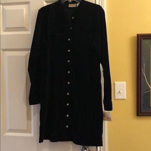 Liz Claiborne navy blue velvet shirt dress